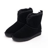 MICHELLE PARK 浪漫冬季柔軟毛毛反折真皮麂皮雪靴-黑