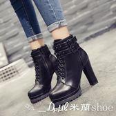短靴 新韓版英倫鉚釘短靴女高跟粗跟系帶機車靴百搭單鞋馬丁靴  米蘭shoe