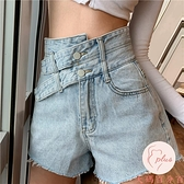 高腰牛仔短褲女夏大碼顯瘦百搭設計感【大碼百分百】