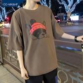短袖T恤港風短袖T恤男韓版潮學生寬鬆男士原宿風中袖五分袖 限時熱賣