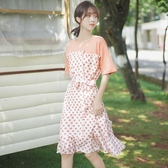 帛卡琪2020夏新款波點洋裝假兩件短袖T恤裙中長款學生雪紡裙子