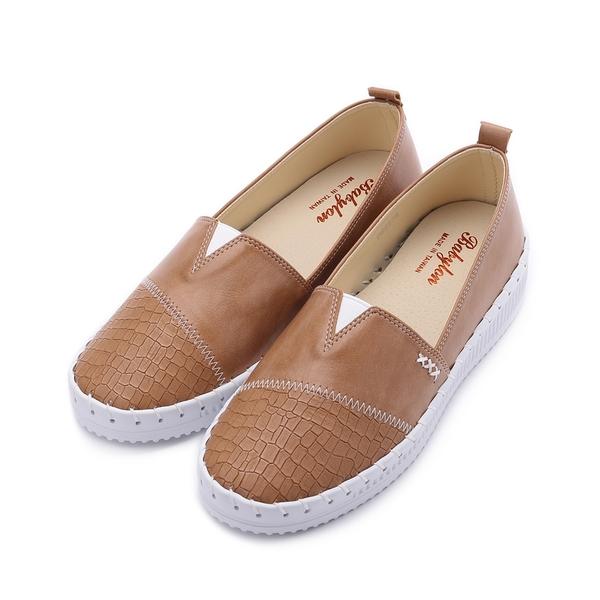 BABYLON 裂紋縫線平底鞋 棕 女鞋