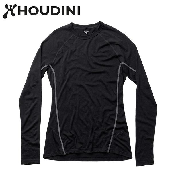 瑞典【Houdini】W`s Desoli Crew女款美麗諾羊毛保暖圓領內層衣 純黑