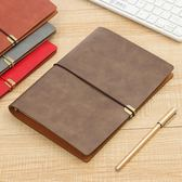 a5活頁筆記本商務 旅行本點陣方格空白6孔 軟皮面綁帶記事本定制 一米陽光