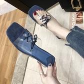 快速出貨 涼拖鞋 女 夏季水晶粗跟中跟透明繫帶一字 拖鞋