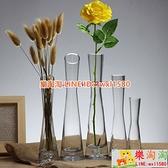 玻璃透明小花瓶 桌面花插小口細長玫瑰花瓶客廳迷你擺件【樂淘淘】
