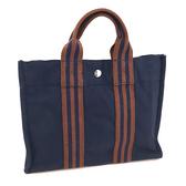 【奢華時尚】HERMES 海軍藍色小型帆布包(八成新)#24060