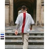 中袖T恤-純棉後背撞色拼接線條男上衣5色73qw59【巴黎精品】