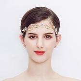 合金髮帶-小雛菊珍珠水晶金色頭飾73xr43【時尚巴黎】