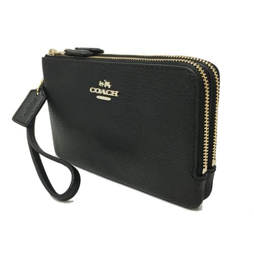 【COACH】經LOGO 牛皮L型雙層拉鍊手拿包零錢包(皮革-黑)