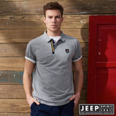 【JEEP】簡約造型短袖POLO衫 (灰)