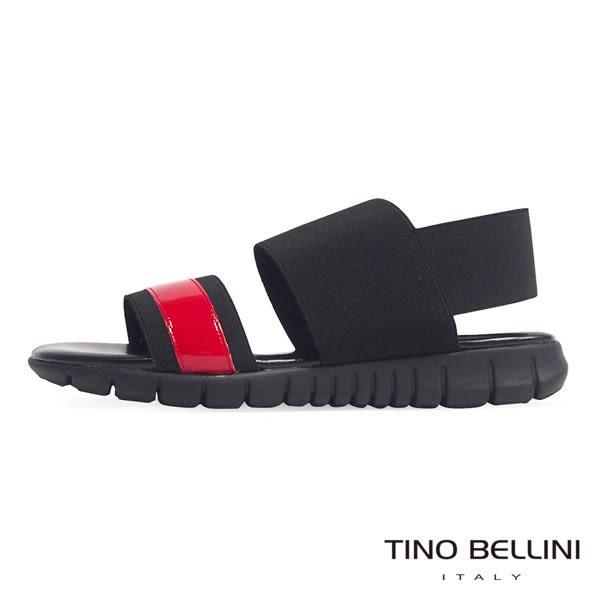 Tino Bellini 義大利進口時髦運動休閒繃帶平底涼鞋(黑+紅)_B63015  2016SS歐洲進口款