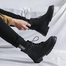 馬丁靴男款 馬丁靴男高幫冬季加絨保暖棉鞋中幫黑色側拉鏈切爾西男靴真皮短靴