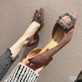 大碼低跟 絨面蝴蝶結淺口尖頭低跟單鞋35-41 - 古梵希鞋包