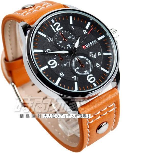 CURREN 城市設計 三眼造型 日期顯示 黑x橘色 皮帶 男錶 CU8164黑橘 飛行錶 學生錶 數字錶