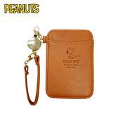 【日本正版】史努比 壓紋 彈力票卡夾 票夾 證件套 悠遊卡夾 Snoopy PEANUTS - 040288