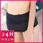 梨卡★現貨 - 高腰女款遮肚高腰皺褶純色百搭黑色單三角泳褲C10