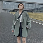 小西裝春秋季新款灰綠色網紅chic西裝外套女韓版寬鬆休閒小西服上衣 新年優惠