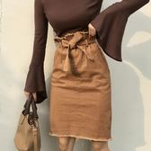 現貨出清韓版修身顯瘦百搭高腰中長款包臀丹寧半身裙花苞裙女   瑪奇哈朵