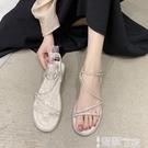 平底涼鞋 帶鉆涼鞋女小清新2021夏季新款時尚網紅學生百搭平底一字帶羅馬鞋 智慧 618狂歡