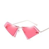 海洋片太陽鏡 無框金屬雙鏡片貓眼不規則墨鏡【五巷六號】y75