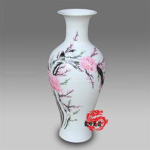 景德鎮陶瓷手繪喜上眉梢魚尾瓶
