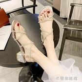 羅馬涼鞋女新款夏季網紅百搭粗跟中跟一字帶水鉆仙女風高跟鞋 618大促銷