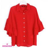 【SHOWCASE】荷葉寬袖雪紡襯衫(紅)