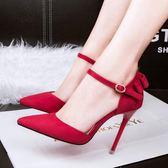 細跟尖頭鞋 蝴蝶結甜美一字扣綁帶高跟涼鞋《小師妹》sm1427