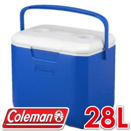 【Coleman 美國 28L EXCURSION海洋藍冰箱】CM-27861/行動冰箱/冰桶/露營冰箱/保冷箱★滿額送