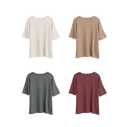 質感簡約短袖針織上衣-M-Rainbow【A460875】