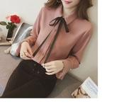【HN10】春裝新款韓範時尚寬松系帶蝴蝶結長袖襯衫女顯瘦喇叭袖上衣潮