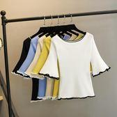 【雙11】女士春裝上衣新款百搭正韓夏季冰絲短袖t恤女學生針織打底衫折300