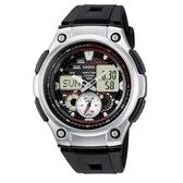 【CASIO】全新特級城市風格膠帶雙顯錶-黑面(AQ-190W-1A)