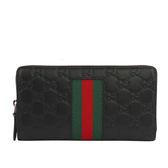 【GUCCI】牛皮壓紋GG logo綠紅綠ㄇ型拉鏈長夾(黑色) 408831 CWCLN 1060