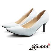 低反發舒適感美腿效果7CM小尖頭高跟鞋 天藍【現貨】*KissXXX*