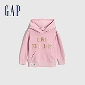 Gap女幼童 LOGO刺繡寬鬆式連帽休閒上衣 627834-淡粉色
