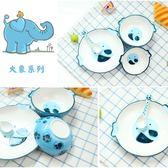 愛美惠創意可愛卡通動物風格手繪兒童陶瓷環保餐具碗盤勺四件套裝MOON衣櫥