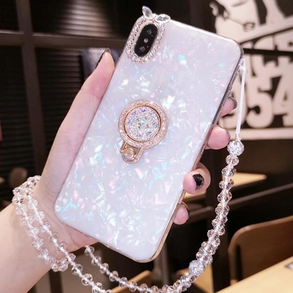 白鑽貝殼紋 OPPO R15 R15 Pro R11s R11s Plus R11 R9s R9s Plus 附掛繩 手機殼 寶石支架 保護殼