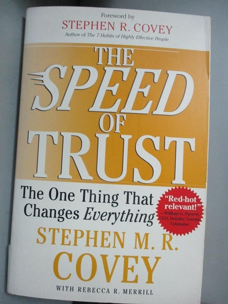 【書寶二手書T7/財經企管_J1N】The Speed Of Trust_Stephen M. R. Covey