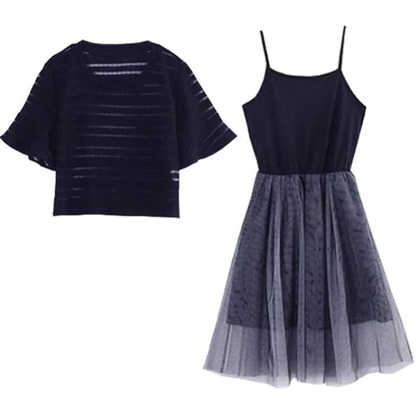 兩件式洋裝 小仙女裙chic溫柔套裝裙女2020夏季新款網紗連身裙洋氣網紅兩件套 小宅女