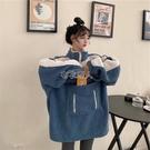 聖誕禮物衛衣女秋冬2020新款韓版寬鬆加絨加厚學生連帽羊羔毛拉鏈
