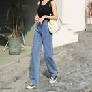 闊腿褲 夏天薄款新款牛仔褲女直筒寬松闊腿褲高腰小個子九分顯瘦顯高限時優惠 極速出貨