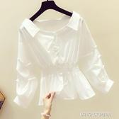 襯衫春秋季新款洋氣泡泡袖白色襯衫女士裝韓版收腰長袖上衣小衫 萬聖節