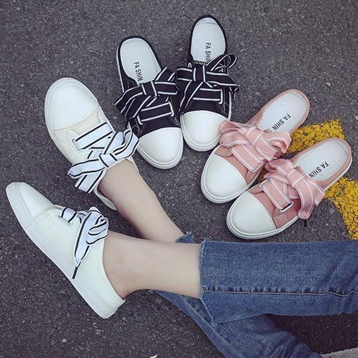 半拖鞋帆布鞋女2019半拖小白鞋韓版絲帶無后跟懶人鞋學生百搭平底板鞋子 【熱賣新品】