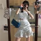 魚尾半身裙套裝女學生夏新款褶皺襯衫短款a字短裙輕熟風兩件套潮 快速出貨