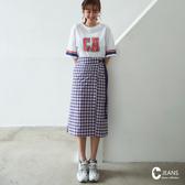 CANTWO JEANS印花長Tx格紋裙兩件式洋裝-共兩色~網路獨家優惠3折