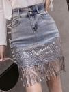歐洲站牛仔半身裙女夏裝2021年新款時尚大碼亮片半裙高腰包臀短裙 果果輕時尚