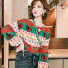 針織毛衣 慵懶風彩色混織條紋字母提花寬鬆百搭圓領毛衣 依多多