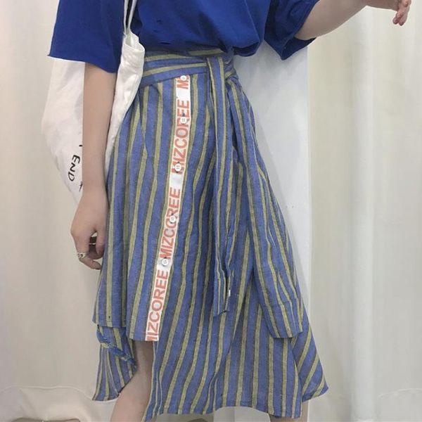 [超豐國際]港味復古休閑風顯瘦百搭高腰條紋單排扣中長裙女1入